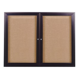 Enclosed Fabric Tack Board w/ Two Doors & Dark Bronze Aluminum Frame