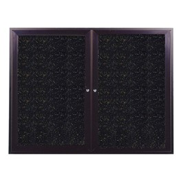 Enclosed Rubber Tackboard w/ Two Doors & Dark Bronze Aluminum Frame