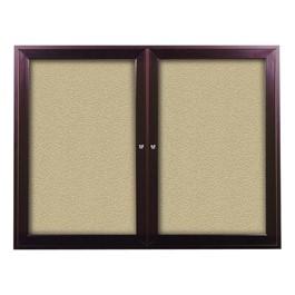 Outdoor/Indoor Enclosed Bulletin Board w/ Two Doors & Dark Bronze Aluminum Frame
