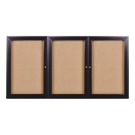Enclosed Fabric Tack Board w/ Three Doors & Dark Bronze Aluminum Frame