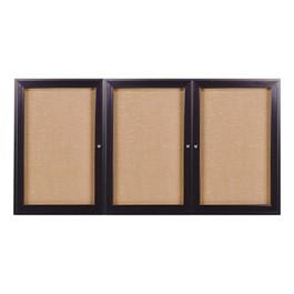 Enclosed Fabric Tack Board w/ Three Doors & Dark Bronze Aluminum Frame