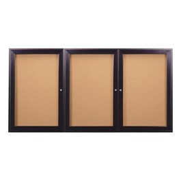 Enclosed Bulletin Board w/ Three Doors & Dark Bronze Aluminum Frame