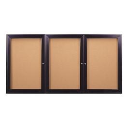 Enclosed Bulletin Board w/ Three Doors & Dark Bronze Aluminum Frame