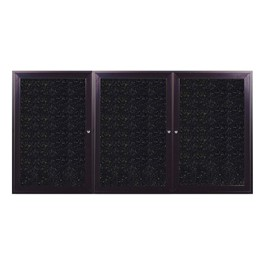 Enclosed Rubber-Tak Tackboard w/ Three Doors & Dark Bronze Aluminum Frame