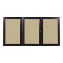 Outdoor/Indoor Enclosed Bulletin Board w/ Three Doors & Dark Bronze Aluminum Frame