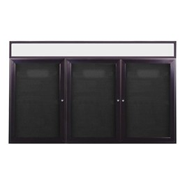 Letter Board w/ Lighted Header, Three Doors & Dark Bronze Aluminum Frame