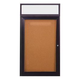 Enclosed One-Door Bulletin Board w/ Header & Dark Bronze Aluminum Frame