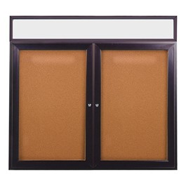 Enclosed Bulletin Board w/ Lighted Header, Two Doors & Bronze Aluminum Frame