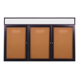 Enclosed Bulletin Board w/ Header, Three Doors & Dark Bronze Aluminum Frame