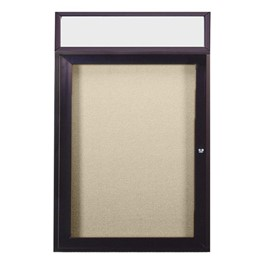Enclosed Bulletin Board w/ Header, One Door & Dark Bronze Aluminum Frame