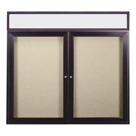 Enclosed Bulletin Board w/ Lighted Header, Two Doors & Dark Bronze Aluminum Frame