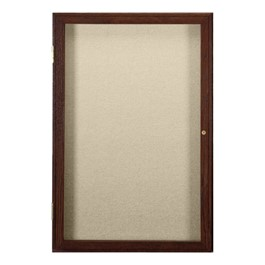 Enclosed Fabric Tack Board w/ One Door - Walnut Finish Frame