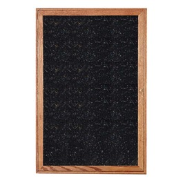 Enclosed Rubber-Tak Tackboard w/ One Door & Walnut Frame