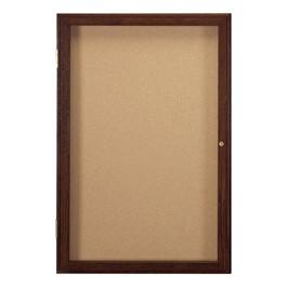 Enclosed Bulletin Board w/ One Door & Walnut Finish
