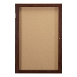 Enclosed Bulletin Board w/ One Door & Walnut Finish