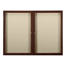 Enclosed Fabric Tack Board w/ Two Doors & Walnut Finish Frame