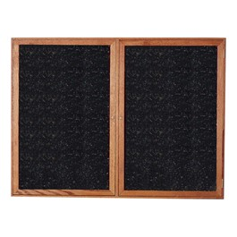 Enclosed Rubber-Tak Tackboard w/ Two Doors & Walnut Frame