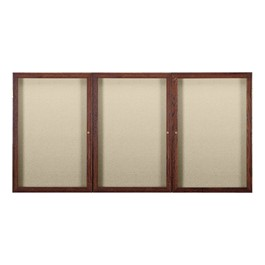 Enclosed Fabric Tack Board w/ Three Doors & Walnut Finish Frame