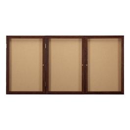 Enclosed Bulletin Board w/ Three Doors & Walnut Finish