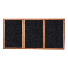 Enclosed Rubber-Tak Tackboard w/ Three Doors & Walnut Frame