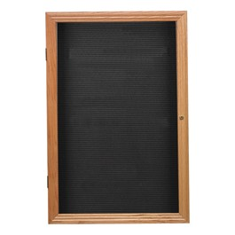 Indoor Enclosed Letter Board w/ One Door & Oak Finish Frame