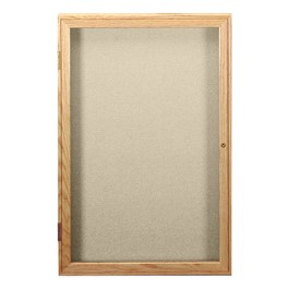Enclosed Fabric Tack Board w/ One Door - Oak Finish Frame