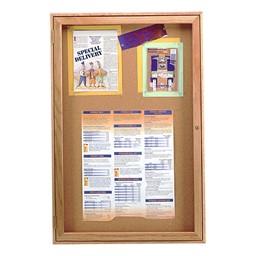 Enclosed Bulletin Board w/ One Door & Oak Finish