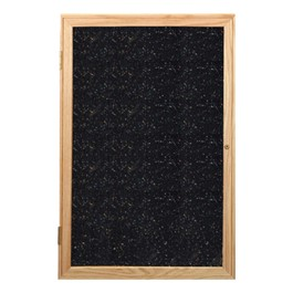 Enclosed Rubber-Tak Tackboard w/ One Door & Oak Frame