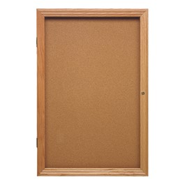 Enclosed Bulletin Board w/ One Door & Solid Oak Frame