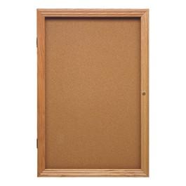 Enclosed Bulletin Board w/ One Door & Solid Oak Frame