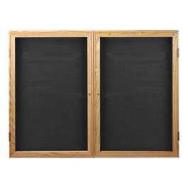 Indoor Enclosed Letter Board w/ Two Doors & Oak Finish Frame
