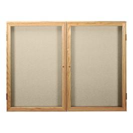 Enclosed Fabric Tack Board w/ Two Doors & Oak Finish Frame