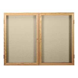 Enclosed Fabric Tack Board w/ Two Doors & Oak Finish Frame