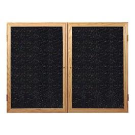 Enclosed Rubber-Tak Tackboard w/ Two Doors & Oak Frame