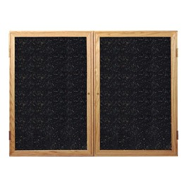 Enclosed Rubber-Tak Tackboard w/ Two Doors & Oak Frame