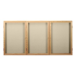 Enclosed Fabric Tack Board w/ Three Doors & Oak Finish Frame
