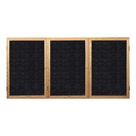 Enclosed Rubber-Tak Tackboard w/ Three Doors & Oak Frame