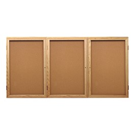 Enclosed Bulletin Board w/ Three Doors & Solid Oak Frame