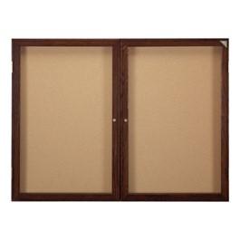 Indoor Enclosed Bulletin Board w/ Two Doors & Walnut Finish