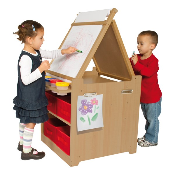 Desk-to-Easel Art Cart - Laminate surface shown - Accessories not included