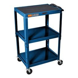 Adjustable-Height Steel Cart - Blue