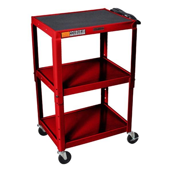 Adjustable-Height Steel Cart - Red