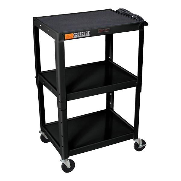 Adjustable-Height Steel Cart - Black