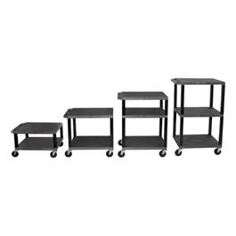 Adjustable-Height Tuffy Cart - Black w/ Black Shelves