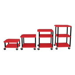 Adjustable-Height Tuffy Cart w/ Red Shelves