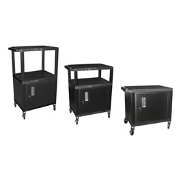 Adjustable-Height Tuffy Cart w/ Cabinet - Black w/ Black Shelves