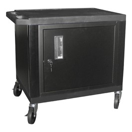 "Tuffy Cart w/ Cabinet - Black w/ Black Shelves (24 1/2"" H)"