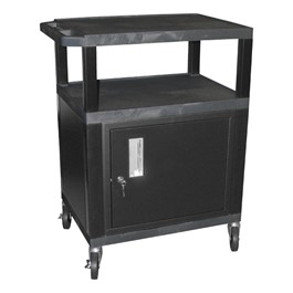 "Tuffy Cart w/ Cabinet - Black w/ Black Shelves (34"" H)"