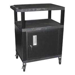 "Tuffy Cart w/ Cabinet - Black w/ Black Shelves (34\"" H)"