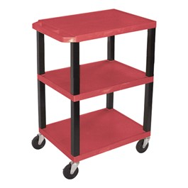 Colorful Plastic Utility Cart - Red